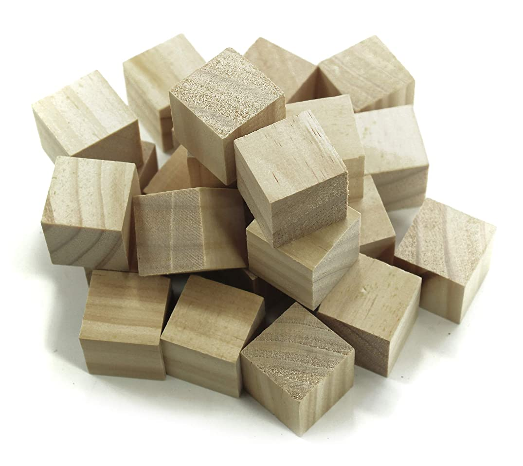 ALL in ONE Wooden Cubes Wood Square Blocks for Puzzle Making DIY Crafts Photo Blocks (1-1/2 Inch 12pcs)