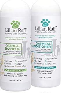 Lillian Ruff Dog Oatmeal Shampoo and Conditioner Set - Safe for Cats - Lavender Coconut Scent for Itchy Dry Skin with Aloe- Deodorize and Soothe - Gentle Cleanser for Normal to Sensitive Skin (16oz.)