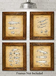 Original Fishing Lures Patent Art Prints - Set of Four Photos (8x10) Unframed - Makes a Great Gift Under $20 for Fishermen