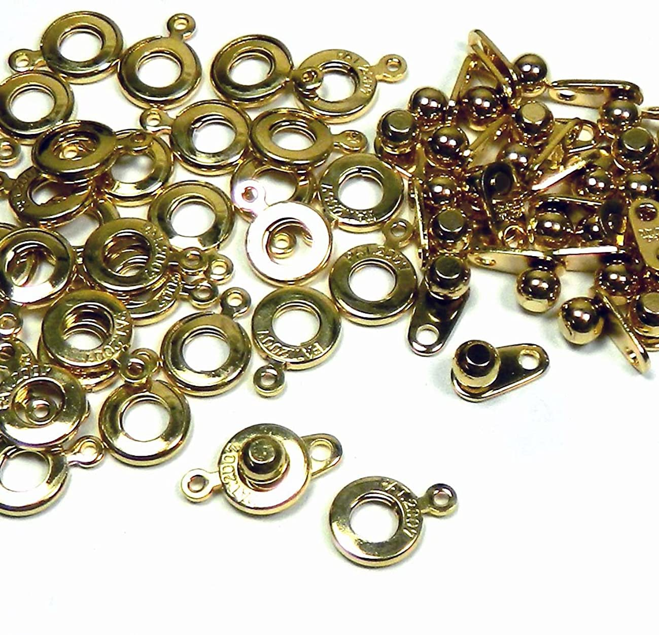 Premium Weight Ball & Socket Clasp 8mm Gold Plated 36 Clasps Jewelry Findings