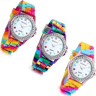 Women's Quartz Watch Rhinestone Rainbow Color Silicon Jelly Fun Play Colorful Casual Dress Wrist Watches