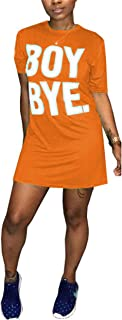 Antique Style Womens Casual Short Sleeve Letters Printed Tunic Top Basic T-Shirts Blouse Dress