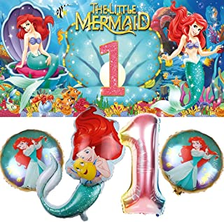 The Little Mermaid 1st Party Decorations   Ariel   Supplies   First   One   Banner   Balloons   For Girl   Backdrop   Birt...