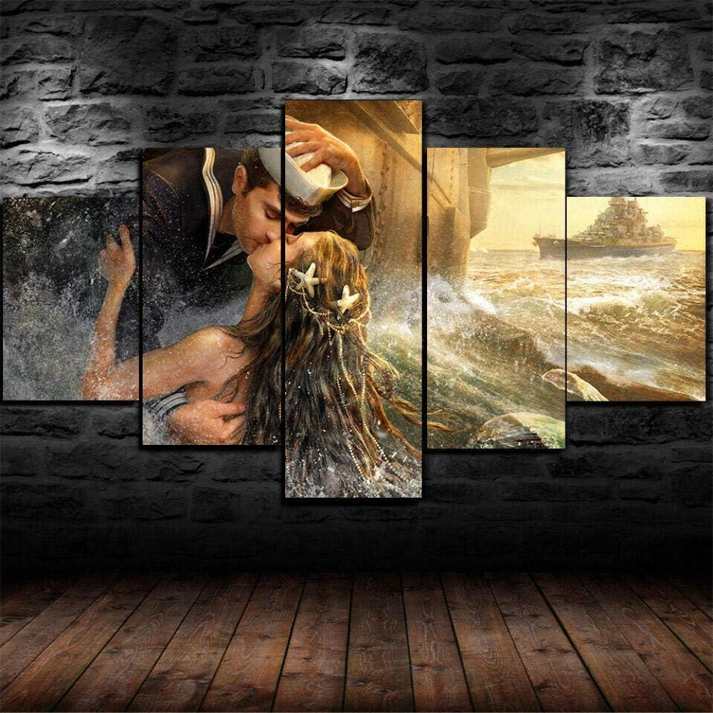 Colores Cuadro En Lienzo Imagen Sirena Besando Hombre Marino 5 Piezas HD Lienzo Arte De La Pared Imágenes Salón Decoración Modular Wall Innovador Regalo