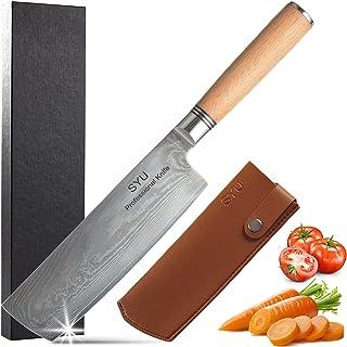 SYU Couteau Nakiri Damas , Couteau de Cuisine Professionnel Couteau à Légumes Végétariens avec Lame Tranchante en 67 Couch...