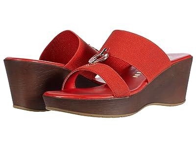 Anne Klein Hadya Wedge Sandal (Orange) Women