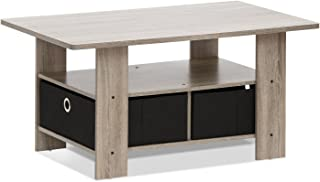 FURINNO Andrey Coffee Table with Bin Drawer, French Oak Grey/Black