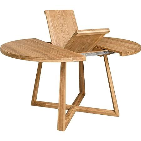 NORDICSTORY Table de salle à manger extensible ronde avec pieds croisés Moby, bois massif chêne, style moderne nordique ou scandinave pour salon, 4-8 personnes, 120-160 x 120 x 75 cm (Natural)