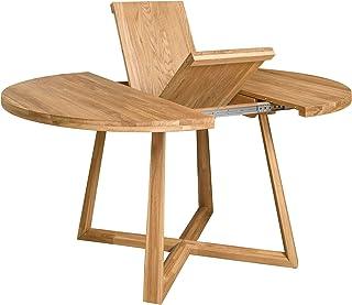 NORDICSTORY Table de salle à manger extensible ronde avec pieds croisés Moby, bois massif chêne, style moderne nordique ou...