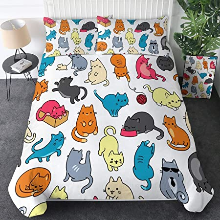 Sleepwish Cat Bedding Fitted Sheet for Kids Boys Girls Animal Print Top Sheet Kawaii Pink Bedding Fitted Sheets Easy Care Twin
