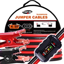 TOPDC Smart Jumper Cables 4 Gauge 20 Feet Heavy Duty Booster Cables with Reverse Hook Up and Alternator Indicator, Battery Condition Tester (4AWG x 20Ft)