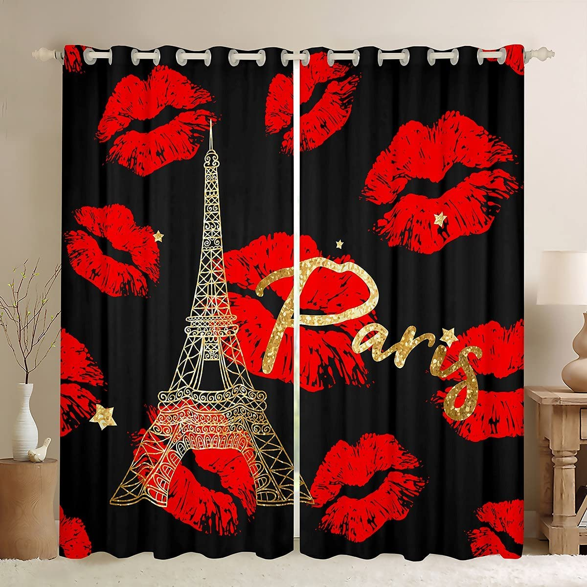 Manfei Paris Window Curtains Sexy Red Lips Kiss Marks Decor Window Drapes for Bedroom and Adults Eiffel Tower Window Treatment Grommet Top Microfiber Fabric 2 Panel Set Curtains, 84Wx84L inch
