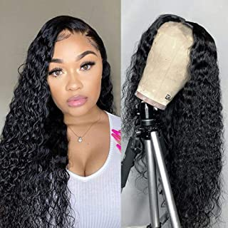 Water Wave Lace Front Wigs Human Hair Pre Plucked 180% Density Brazilian 4x4 Lace Human Hair Wigs for Black Women(12 Inch,...
