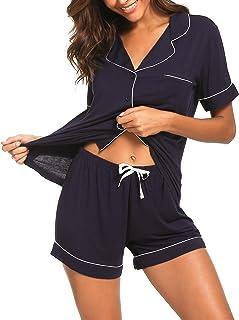 TIKTIK Pajamas Set Short Sleeve Sleepwear Womens Button Down Nightwear Soft Pj Lounge Sets with Pocket S-4XL