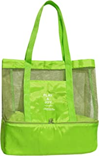 BenefitUSA Outdoor Sport Tote, Mesh Beach Layered Cooler Heat Insulated Picnic Bags, Green