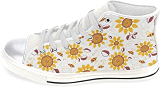 Women's High Top Canvas Shoes Trainers Sneakers Colorful Decor Sunflowers Prints