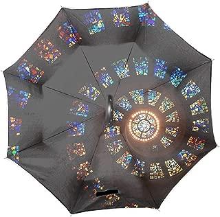 Church Skylight Double Layer Inverted Umbrella Cars Reverse Umbrella, Windproof UV Protection Big Straight Umbrella for Car Rain Outdoor