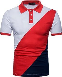 Cottory Men's Casul Stripe Contrast Color Short Sleeve Solid Polo Tee