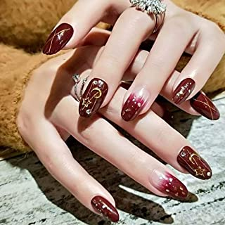 Sethexy Glossy Oval False Nails Chic Moon Star Glitter Wine Gradient Full Cover Acrylic 24Pcs Fake Nails for Women and Girls
