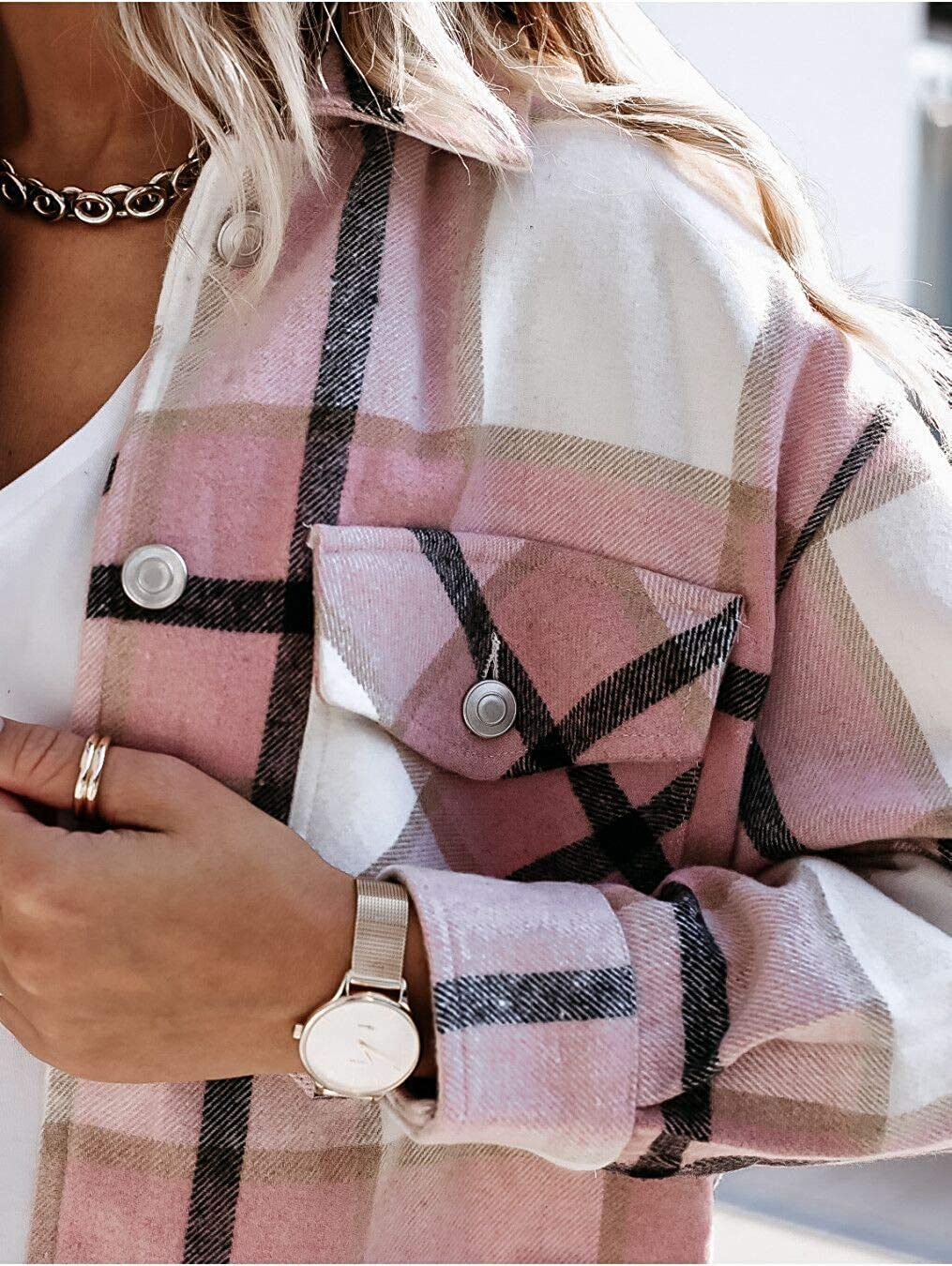 Women's Fashion Block Plaid Shirt Jacket Coat Casual Long Sleeve Loose Coat Lapel Outwear with Pocket