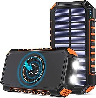Hiluckey Powerbank op zonne-energie, 26800 mAh, draadloze oplader, draagbare oplader op zonne-energie met 4 uitgangen USB ...
