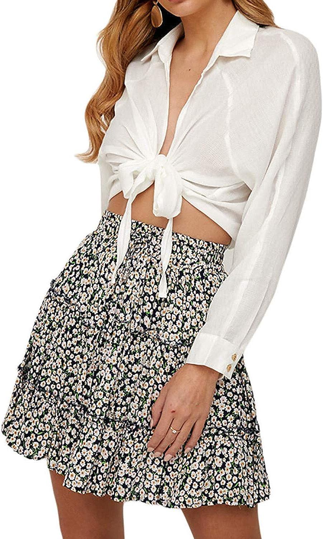 Tkria Women's Leopard Mini Floral Print Ruffle High Waist Casual Short Skirt