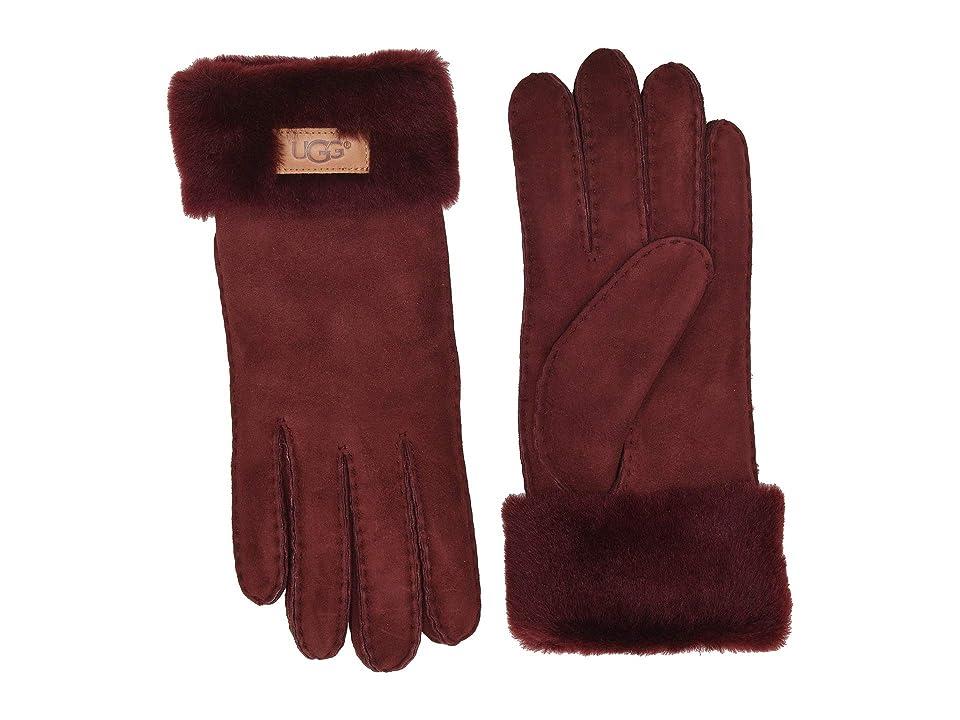 UGG Turn Cuff Water Resistant Sheepskin Gloves (Port) Extreme Cold Weather Gloves