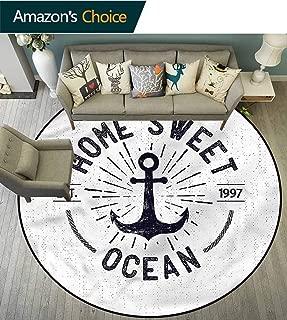 Anchor Round Carpet Mat Indoor Home Sweet Ocean Quote 3D Printing Round Picnic Mat Diameter-47
