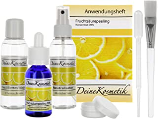 Fruchtsäurepeeling 70%, 0,5 pH, Sofort-Starter-Set, Profiheimbehandlung, AHA Glycolsäure Peeling, große Größe