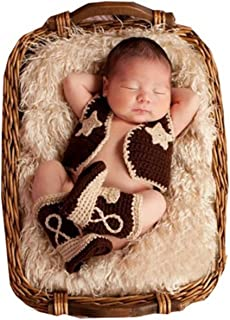 Shinystar Baby Handmade Crochet Knit Cowboy Vest Boots Photography Prop Costume Set (Style 1)