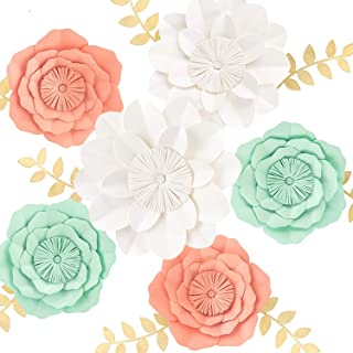 3D Paper Flower Decorations, Giant Paper Flowers, Large Handcrafted Paper Flowers (Mint, Coral, White Set of 6) for Wedding Backdrop, Bridal Shower, Wedding Centerpieces, Nursery Wall Decor
