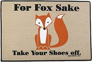 TG,LLC Treasure Gurus Funny for Fox Sake Remove Shoes Tan Welcome Entry Doormat Outdoor Floor Rug Door Mat