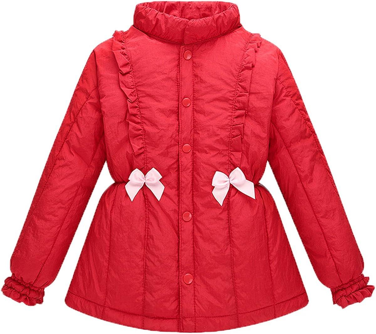 JELEUON Kids Baby GirlsWinter Bowknot Thicken Warm Down Puffer Jacket Outwear Coat