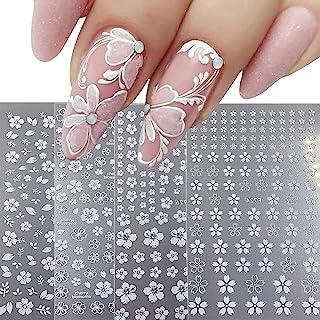 برچسب هنر ناخن Decals 4 ورق شکوفه های گیلاس سفید ناخن لوازم هنری سه بعدی تزئینات ناخن تزئینی لوازم جانبی DIY هنر ناخن اکریلیک (سفید)