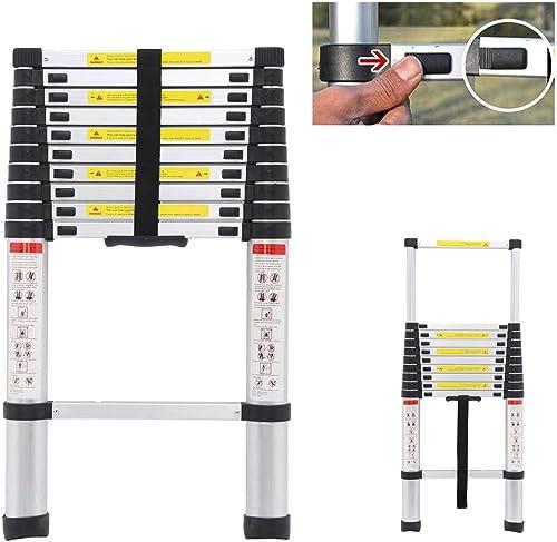 wholesale Aluminium Telescoping Loft Extension Ladder 11 Steps Portable Light Weight Non-Slip Rubber popular Feet popular Max 330lb Capacity, 10.5 Feet online