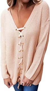 Women's Sexy V Neck Lace up Front Sweater