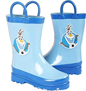 Disney Kids Boys' Frozen Olaf Character Printed Waterproof Easy-On Rubber Rain Boots (Toddler/Little Kids)