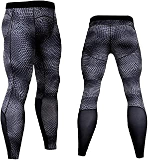 HOOLAZA Men Snake Print Compession Tights Sports Training Pants Running Workout Trousers