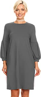 Womens Long Puff Sleeves reg and Plus Size Dresses with Side Pockets - Made in USA
