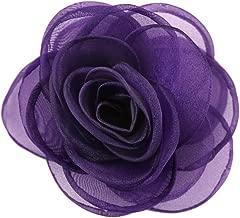 Merdia Women's Lovely Rose Flower Hair Clip Rose Brooches Purple
