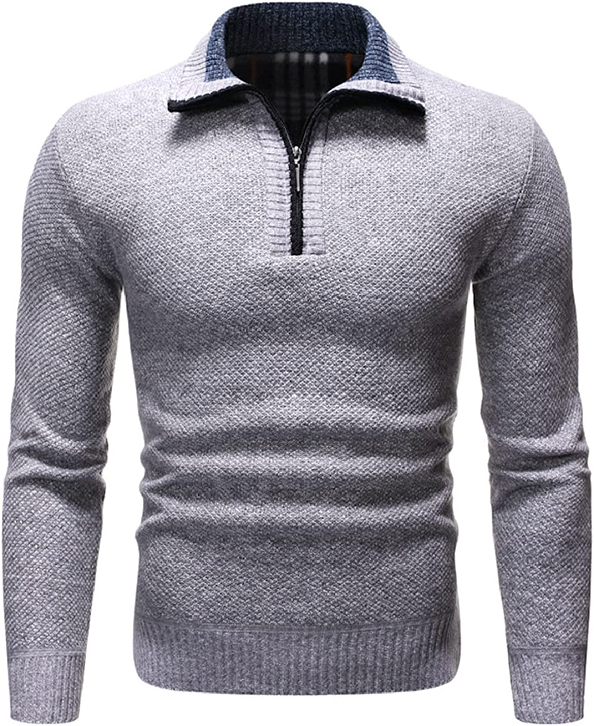Peaceglad Men's Knitted Sweaters Long Sleeves Casual Slim Thick Zip Sweaters Pullover