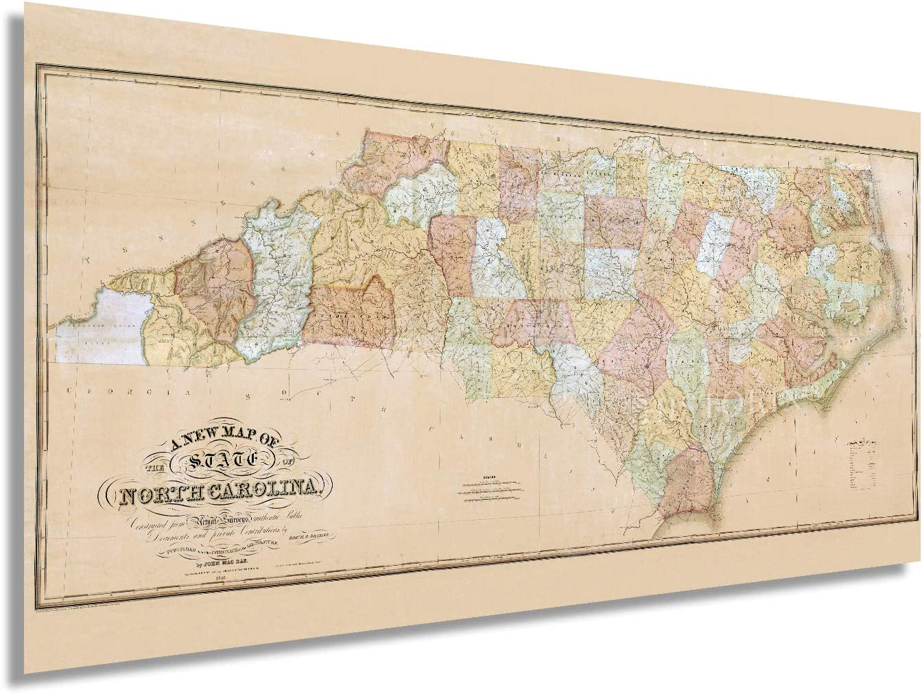 Buy Historix Vintage 20 North Carolina State Map   20x20 Inch ...