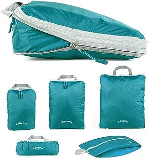 Zenph圧縮バッグ 5点セット トラベルポーチ YKKファスナー圧縮 スペース50%節約 衣類・シューズ収納 軽量防水 出張 旅行 アウトドア スーツケース整理用