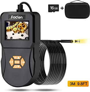 Industrial Endoscope, Foclen Borescope Camera 2.4inch IPS Screen 2600mAh Digital Handheld 5.5mm Snake Probe Inspection Camera with Light 16G TF Card and Portable Box 3M/9.8FT