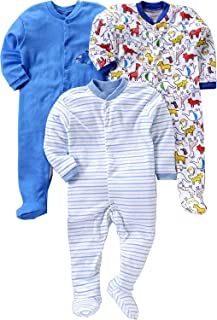 Gopuja New Born Baby Multi-Color Long Sleeve Cotton Sleep Suit Romper for Baby Boys and Baby Girls Set of 3 (Rompers)
