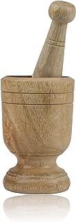 Handmade Wooden Mortar & Pestle Set Natural Rustic Style Herb Spice Grinder Masala Mixer Manual Kharal Mashing Bowl Seasonings Pill Crusher Kitchen Utensils Birthday Housewarming Gift Ideas