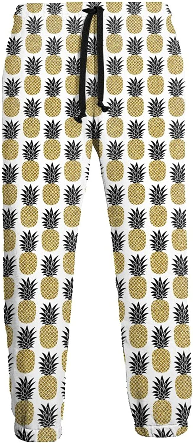 KAWAHATA Pineapples Men's Pants with Pockets Tapered Athletic Sweatpants 3D Casual Active Sports Pants