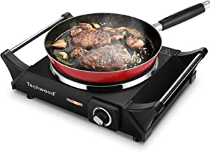 Techwood Hot Plate Portable Electric Stove 1500W Countertop Single Burner with Adjustable Temperature & Stay Cool Handles,...