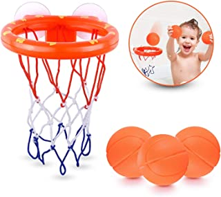 JYELUK Bath Toys Bathtub Basketball Hoop Balls Set for Toddlers Kids with Strong Suction Cup Easy to Install,Fun Games Gif...