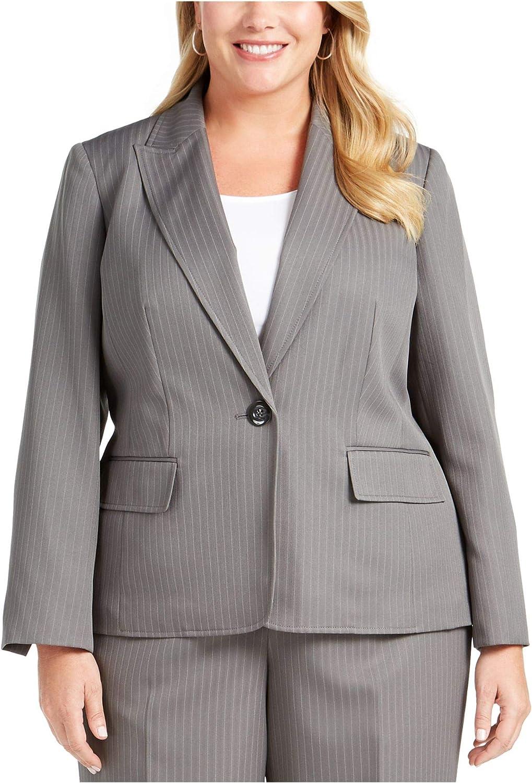 Le Suit Plus Size One-Button Pinstriped Pantsuit, Grey Multi 18W